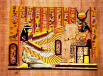 Papyrus painting, Ma'at and Isis