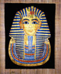 Egyptian Papyrus Painting: King Tut  Funeral Mask Dramatic Black Background