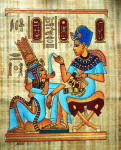 Egyptian Papyrus Painting: King Tut  Perfuming His Wife