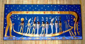 Papyrus Art Celestial goddess Nut over a solar boat