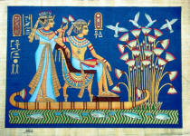 Papyrus Painting:  King Tut and His Wife Honeymoon on the Nile Vivid Blue Background