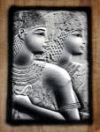 "Egyptian Papyrus Paintings:  Princess Meritamun, ""The White Queen"" in a Grey Stone Finish"