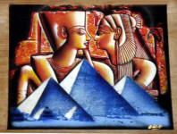 Egyptian Papyrus Painting: Ramses the Great and Queen Nefertari over the Pyramids