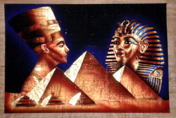 Egyptian Papyrus Painting Golden Bronze Nefertiti And
