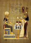 Papyrus Painting:   Queen Nefertari  offering oils to Hathor in the Afterlife