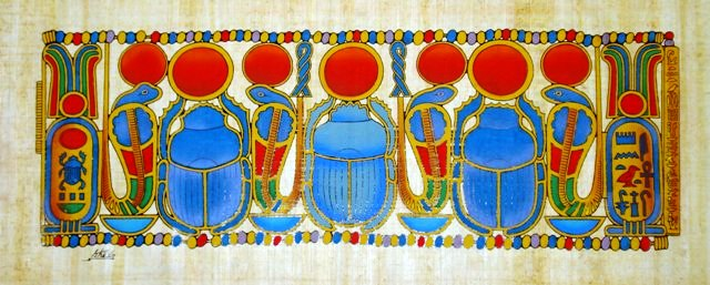 Papyrus Painting Sacred Scarab Motif The Ancient Egyptian Symbols