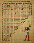 Papyrus hieroglyphic alphabet and numbers with Thoth