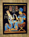 Egyptian Papyrus Painting: King Tut  Perfuming His Wife Dramatic Black Background