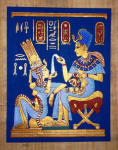 Egyptian Papyrus Painting: King Tut  Perfuming His Wife Vivid Blue Background