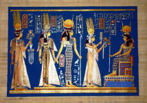 Papyrus Painting:   Queen Nefertari in the Afterlife with Vivid Blue Background