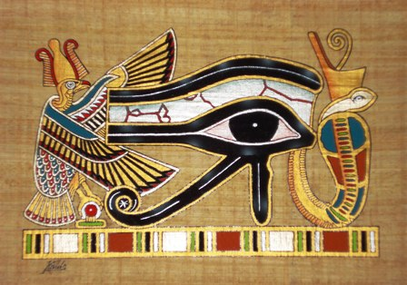 The Protective Eye of Horus Papyrus Painting