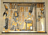 Egyptian Papyrus Painting: Ramses' Journey to the Afterlife Offering Sacrifices to Osiris