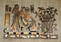 Papyrus Painting:  King Tut and His Wife Honeymoon on the Nile