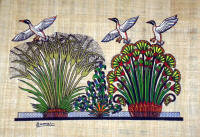 Papyrus Painting - Nile Geese and lotus