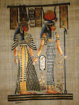 Papyrus art Isis leads Nefertari in the afterlife