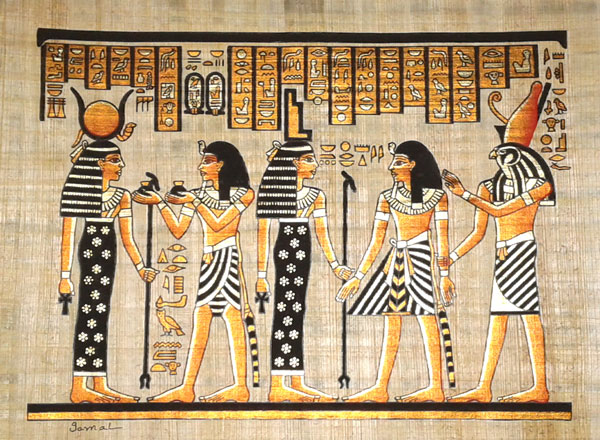 Egyptian Papyrus Painting: Ramses in the Afterlife with Isis
