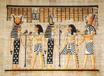 Egyptian Papyrus Painting: Ramses in the Afterlife with Isis and Horus