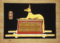 Papyrus Painting:  Golden Anubis Black Background