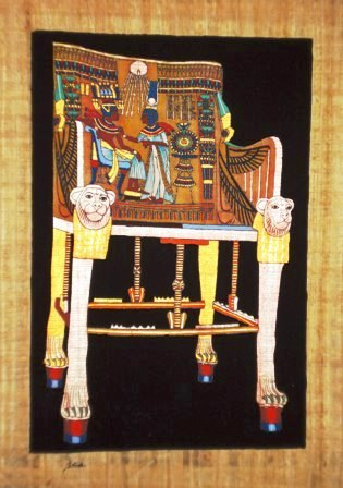 ... Papyrus Painting: Throne of King Tut with Dramatic Black Background