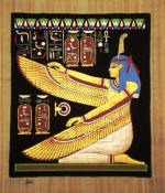 Papyrus Painting: The Goddess Ma'at Kneeling Dramatic Black Background