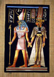 Egyptian  Papyrus Painting:  Queen Nefertari and Horus Dramatic Blackground