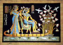 Papyrus Painting:  King Tut and His Wife Honeymoon on the Nile Dramatic Black Background