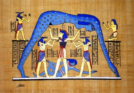 Papyrus Painting:  Golden Nut The Vault of the Heavens