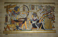Papyrus art King Tut Hunting