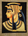 Papyrus Painting -  Cleopatra Dramatic Black Background